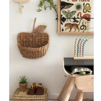 Nordic Kids Room Decor Natural Rattan Apple Shape Storage Basket Baby Props for Photograph Wall Decoration Doll Storage Box Toys