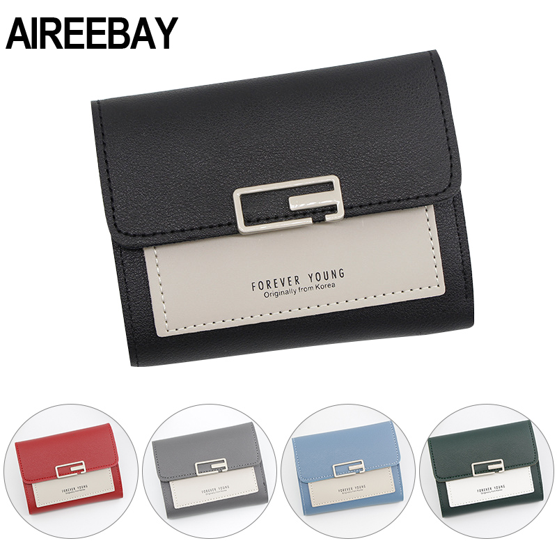 AIREEBAY Mini Wallet Women Fashion Purse Female Short Small Wallets Korean Style Students Lovely Pink Purse Female Wallet