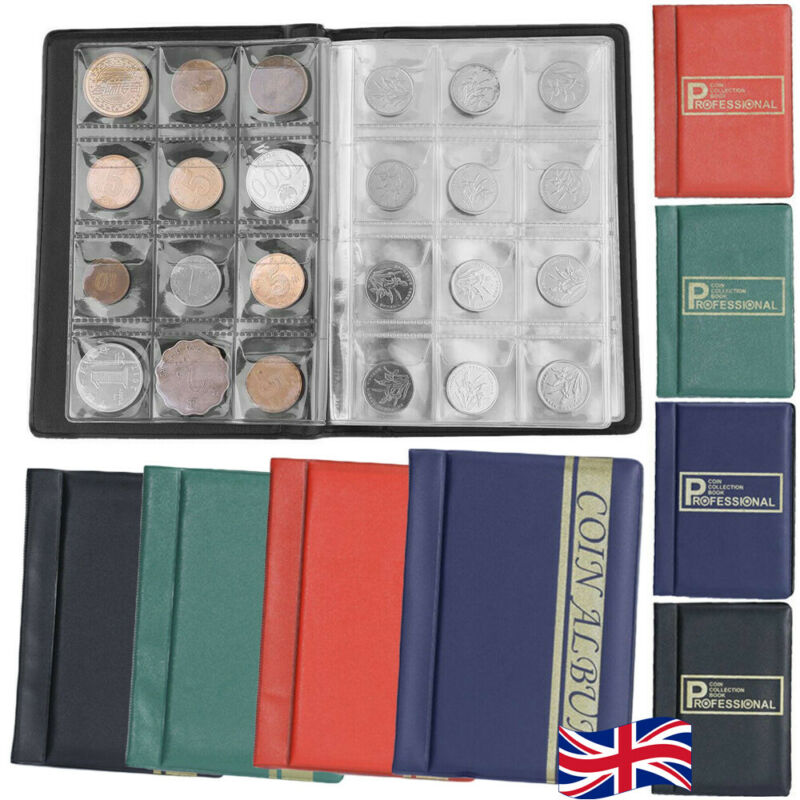 120 Coin Collection Holder Storage Case Collecting Money Pocket Penny Album Book
