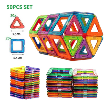 50pcs Big Size Magnetic Building Blocks Magnetic Designer Construction Set Model Building Magnets Blocks Educational Toy цена 2017