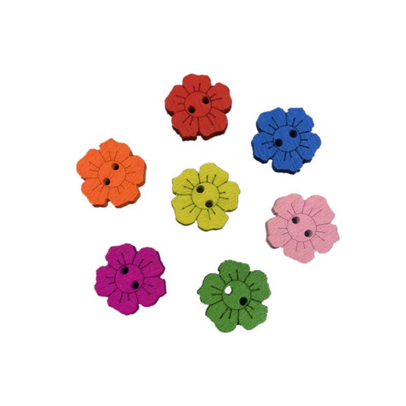 50 sztuk/partia malowanie kwiatów drewniane guziki odzieżowe do szycia akcesoria dekoracyjne kwiat kształt drewniany przycisk
