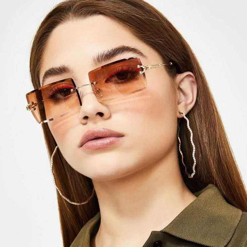 Fashion Colorful Rimless Rectangle Sunglasses Women Men Shades 2020  AlloySun Glasses UV400    - AliExpress