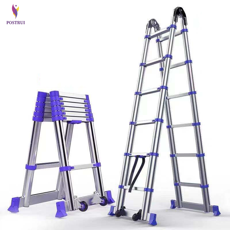 3.15M+3.15M High Quality Thickening Aluminium Alloy Herringbone Ladder Portable Household Telescopic Ladders