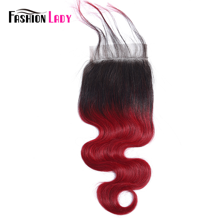 Fashion Lady Pre-Colored Peruvian Bodywave Closure Ombre Human Hair Closure 4*4 Lace Closure 1b/burgundy 10-20 Inches Non-remy