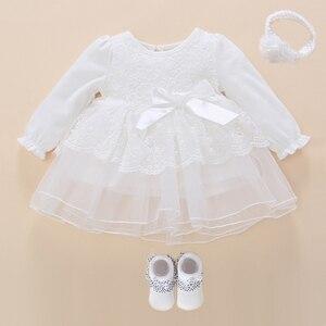 Vestido de manga longa para batizado, vestido branco para meninas para batizado, branco, neve, vestido para bebê, batismo, princesa, branco, vestidos de batizado
