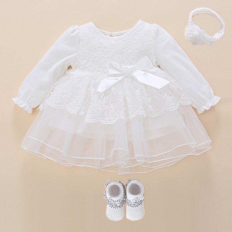 White Christening Dress For Baby Girl Long Sleeve Snow White Baby Dress Baby Baptism Dress Princess White Christening Dresses