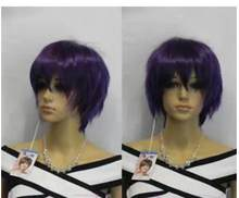 Shun shun Korte Rechte Spiky Dark Purple Fibre Haar Cosplay Synthetische Pruik Heren Unisex Dames Hittebestendige Synthetisch haar Pruik(China)