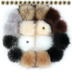 10 12 15cm falso hairball chapéu bola pom pom bola diy atacado acessórios boné multicolorido pele de raposa do falso pompom com fivela