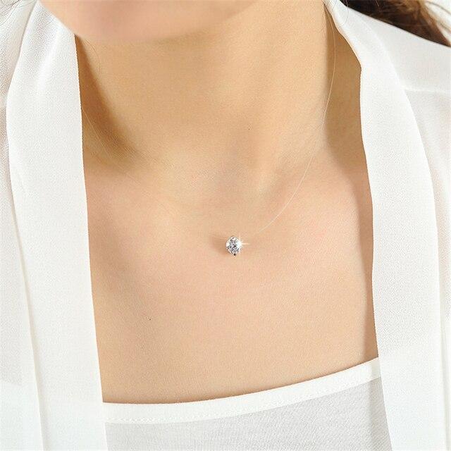 Transparent Line Link + Crystal Pendant Necklace 6