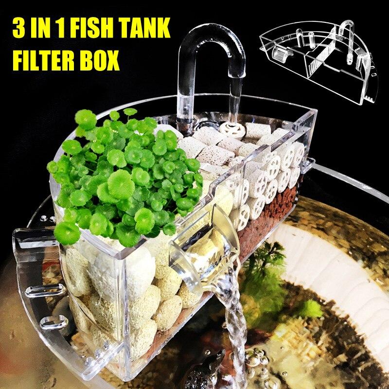 Aquarium External Filter Box Acrylic External Hanging Water Purifier for Round Fish Tank Accessories JS22