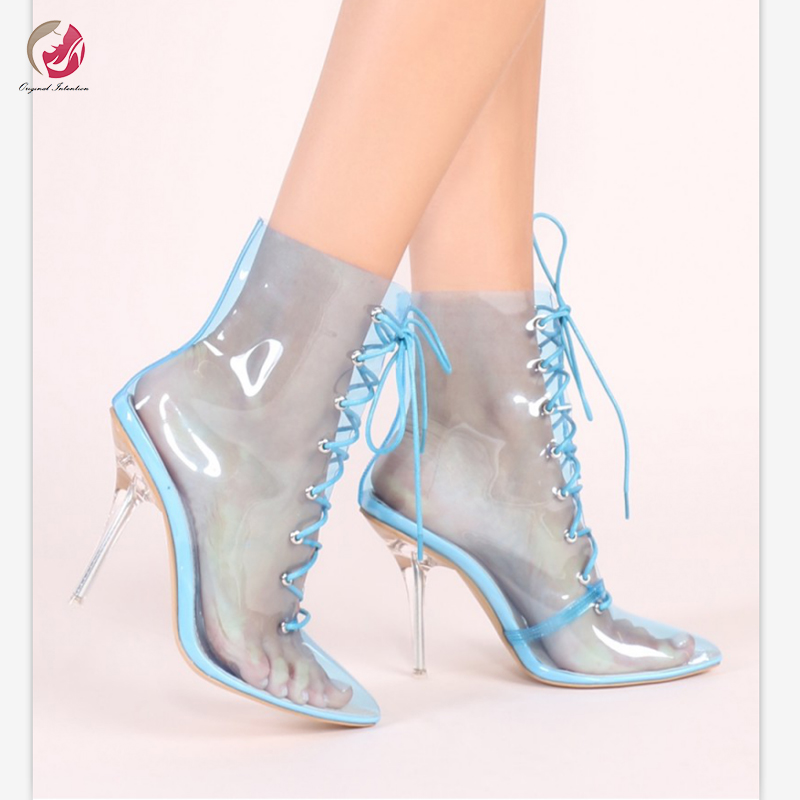 Original Intention Popular Transparent Ankle Boots Woman Crystal Heels Thin High Heels Pointed Toe Cross-tied Boots Shoes Woman