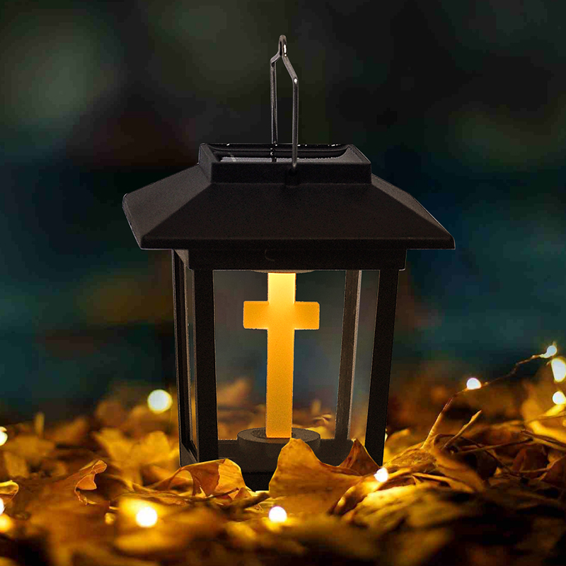 Small Palace Lantern Solar Outdoor Rainproof LED Garden House Holloween Cemetery Ritual Energy Saving Decoration Flameless Led