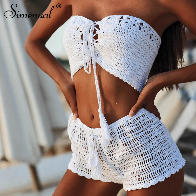 Simenual Crochet Handmade Sexy Beachwear Women Tankini Hollow Out BOHO Bandage 2 Piece Sets Summer 2020 Tube Top And Shorts Set