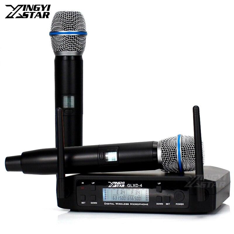 GLXD4 UHF Microfono Senza Fili Professionale 2 Canali Microfono Senza Fili Sistema di Micro Per BETA 87A BETA87A Palmare Karaoke Microfono