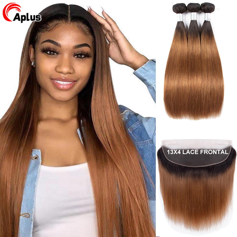 Aplus Brazilian Straight Hair Bundles With Closure Ombre Bundles With Frontal  Remy T1B 30 Ear To Ear Lace Frontal With Bundles