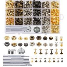 Комплект защелкивающихся крепежных элементов, включая кожаные заклепки, люверсы, втулки, винты для переплета, защелкивающиеся кнопки, стык...