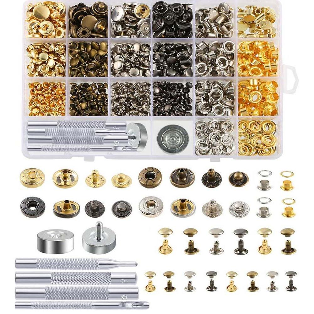 Snap Fasteners Kit Including Leather Rivets,Eyelets,Grommets,Binding Screws,Snap Buttons Press Studs kit with Fixing Tools
