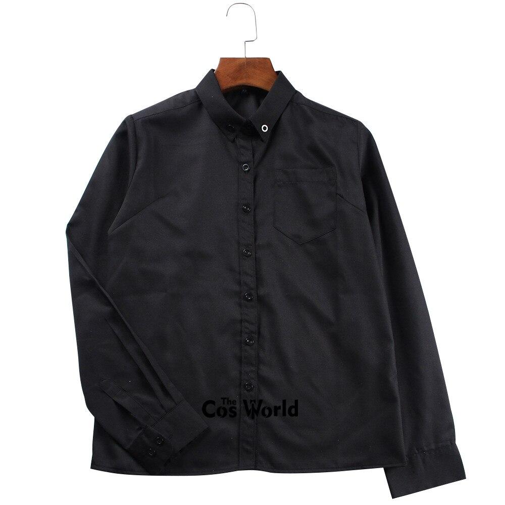 XS-XXL Men's Women's  Spring Autumn V Neck Long Sleeve Slim Black Shirt Tops Blouses For JK School Uniform Student Clothes