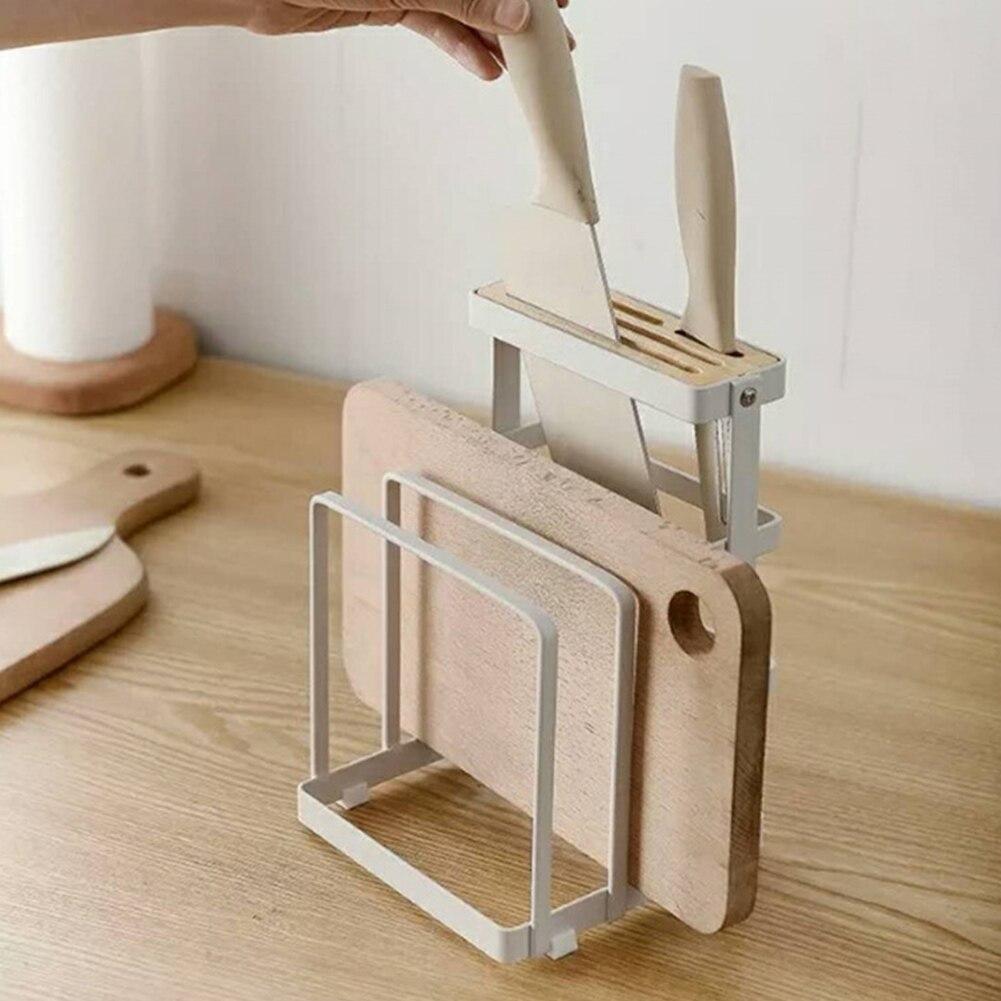 Kitchen Chopper Supplies Durable Storage Rack Pot Lid Plate Holder Home Cutting Board Space Saving Desktop Stand Drying Non Slip