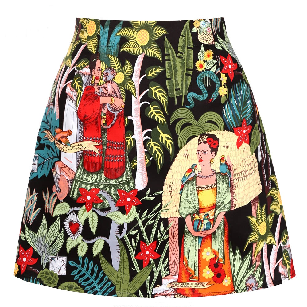 2020 Ladies Mini Skirts Womens Faldas Mujer Moda 2019 Black Floral Print Summer Cotton Short Sexy A Line Skirts