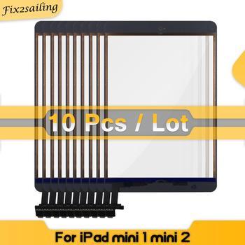 10 sztuk/partia dotykowy dla iPad Mini 1 Mini 2 A1432 A1454 A1455 A1489 A1490 A1491 testowany ekran dotykowy Digitizer i klucz + IC Chip Flex