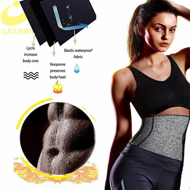 LAZAWG Women Waist Trainer Belts Suits Weight Loss Hot Neoprene Sauna Sweat Pants Workout Sets Capris Leggings Body Shaper 1