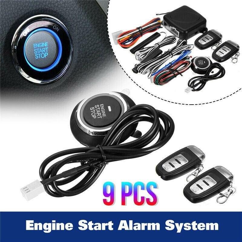 12V Car Alarm Start Security System Key Auto                                                                                     Control Start Anti-theft Entry Push Button Remote Kit