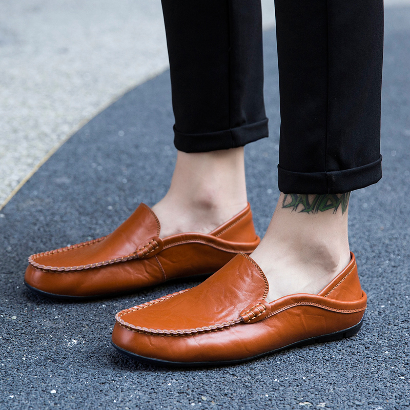 Men Shoes Genuine Cow Leather Moccasin Loafers Tenis Masculino Adulto Handmade Slip On Flat Boat Shoes Male Footwear Size 38-47