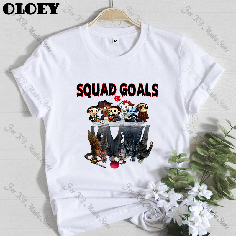 Squad Goals Horror <font><b>tshirt</b></font> Women Jason Voorhees Michael Myers Freddy Krueger <font><b>Pennywise</b></font> IT Chucky Leatherface Top Friends T-shirt image