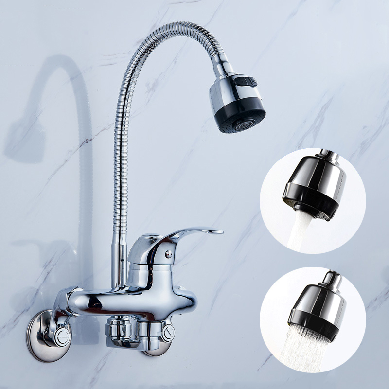 Us 50 92 30 Off Wall Mounted Kitchen Faucet 360 Degree Swivel Flexible Hose Double Hole Pull Down Sink Spray Cold Hot Water Mixer In