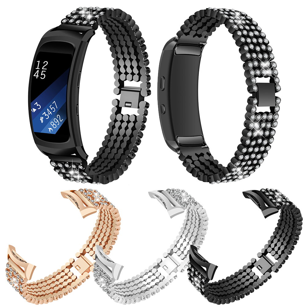 Watchband For Samsung Gear Fit2 SM-R360 Luxury Accessories Crystal Rhinestone Diamond Stainless Steel Metal Watch Band Strap