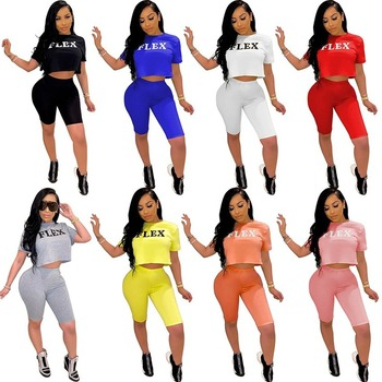 Clothes Vendors for Women 2020 New Hot Style Womens Clothing Cross-Border Sports Leisure Letters Printed Sexy Costume