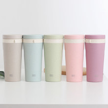 300ML Double layer anti-scalding wheat straw plastic cup male and female students simple portable cup cute fresh anti-fall transparent pc plastic cup with tea compartment simple and fresh male and female students portable water cup high temperature