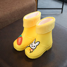 Kids 2019 Hot New Autumn Winter Rain Boots Cartoon Rabbits Girls Children Rubber Boots Waterproof Baby Infant Shoes(China)