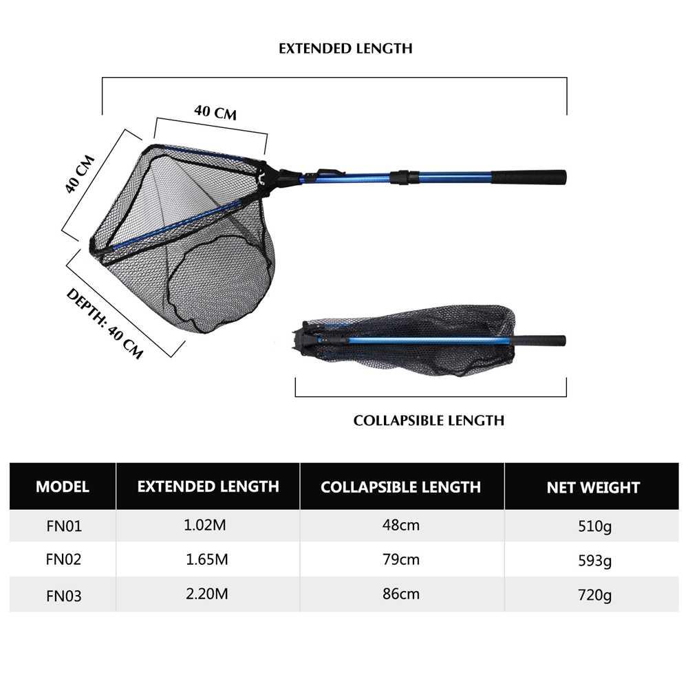 Goture rede de pesca dobrável triangular, rede de pouso 102cm 165cm 220cm, 2/3 seções, telescópica, rede revestida de borracha rede de rede