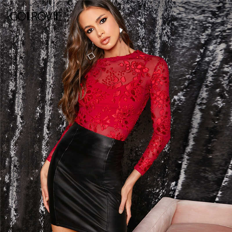 COLROVIE Red Sheer Gestickte Mesh Dünne Top Ohne Cami Frauen Sexy Mode Feste Tees 2020 Frühling Stretchy Pullover Tops