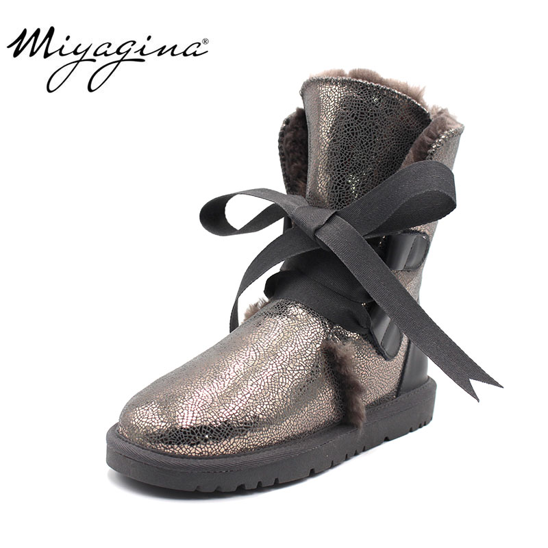 MIYAGINA New Top Quality Fashion Women Snow Boots Genuine Leather Winter Boots Warm Women Boots 8 Colors shoes Size 34-40