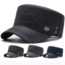 HT3046 Spring Autumn Caps for Men Casual Flat Top Cadet Army Military Cap Adjustable Cotton Baseball Hat Vintage