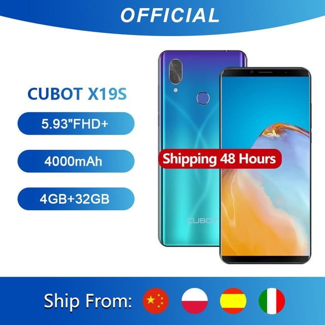 """Cubot X19 S Smartphone Helio P23 Octa Core Dual Cámara 16MP 5,93 """"2160*1080 FHD + identificación facial 4000mAh Batería grande de 4GB + 32GB 4G LTE"""