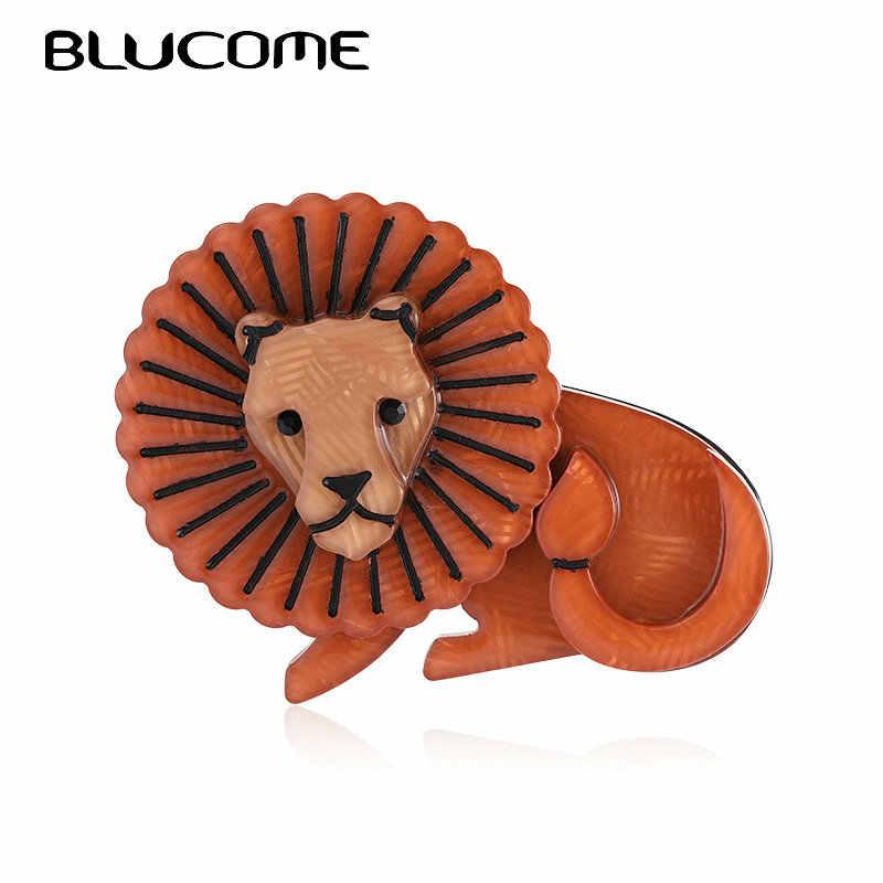 Blucome การ์ตูนสิงโตสีน้ำตาลรูปร่างเข็มกลัด Corsage สำหรับเด็กชาย Cool Handmade Brooches สัตว์คอลเลกชัน Lapel PIN Badge เครื่องประดับ