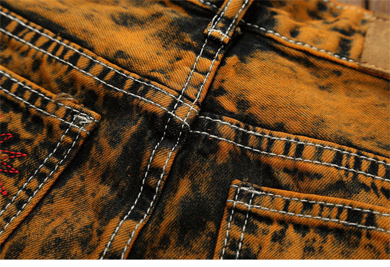 Hot Holes Scratched Men`s Jeans Vintage Embroidery Stitched Moustache Printed Teens Youth Boys Straight Denim Trousers Pants (16)