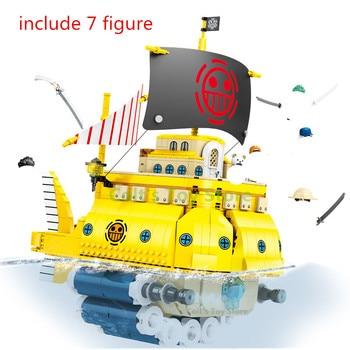 ONE PIECE Trafalgar-law's Submarine Dive Pirate Ship Building Blocks Kit Bricks Classic Movie Model Kids Toys For Children Gift