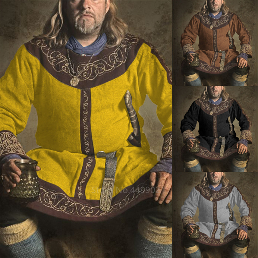 New Medieval Renaissance Halloween Carnival Party Costumes For Men Adult Vintage Middle Ages Performance Cosplay Gothic Top