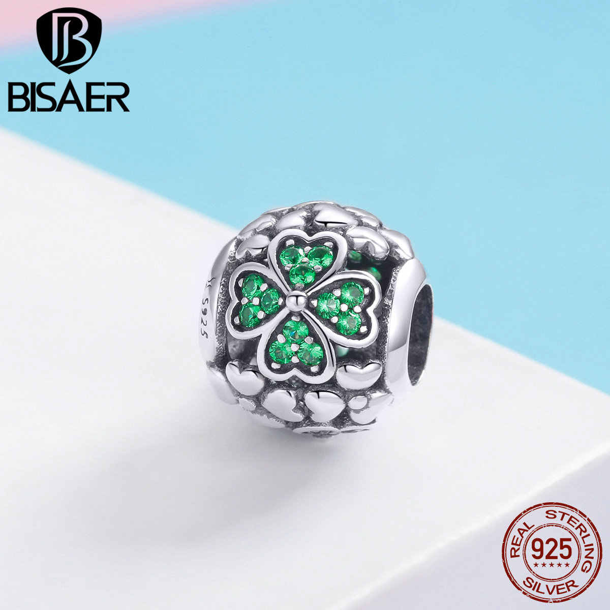BISAER 925 Sterling Silver Green Hope Leaves Shamrock Clover Charm Beads fit Beads DIY Sterling Silver 925 Jewelry Making ECC964