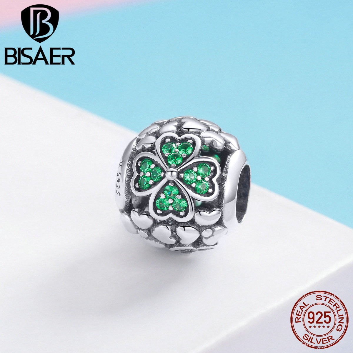 BISAER 925 Sterling Silver Green Hope Leaves Shamrock Clover Charm Beads fit Beads DIY Sterling Silver 925 Jewelry Making ECC964(China)