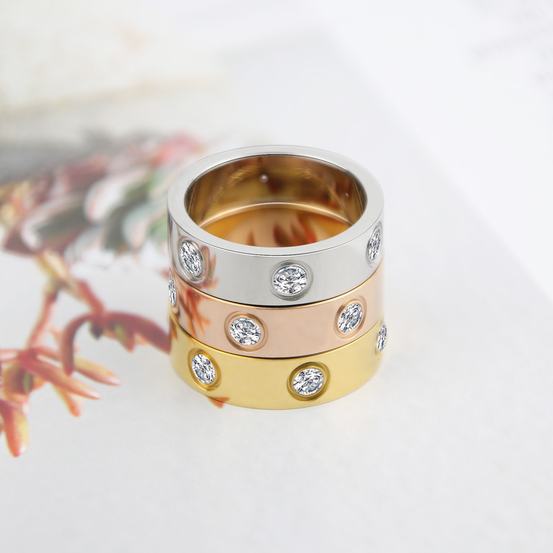 Luxury Shiny Rotating Circle Crystal Ring Stainless Steel Rose Gold Love Ring for Women Engagement gift Brands Ring 2