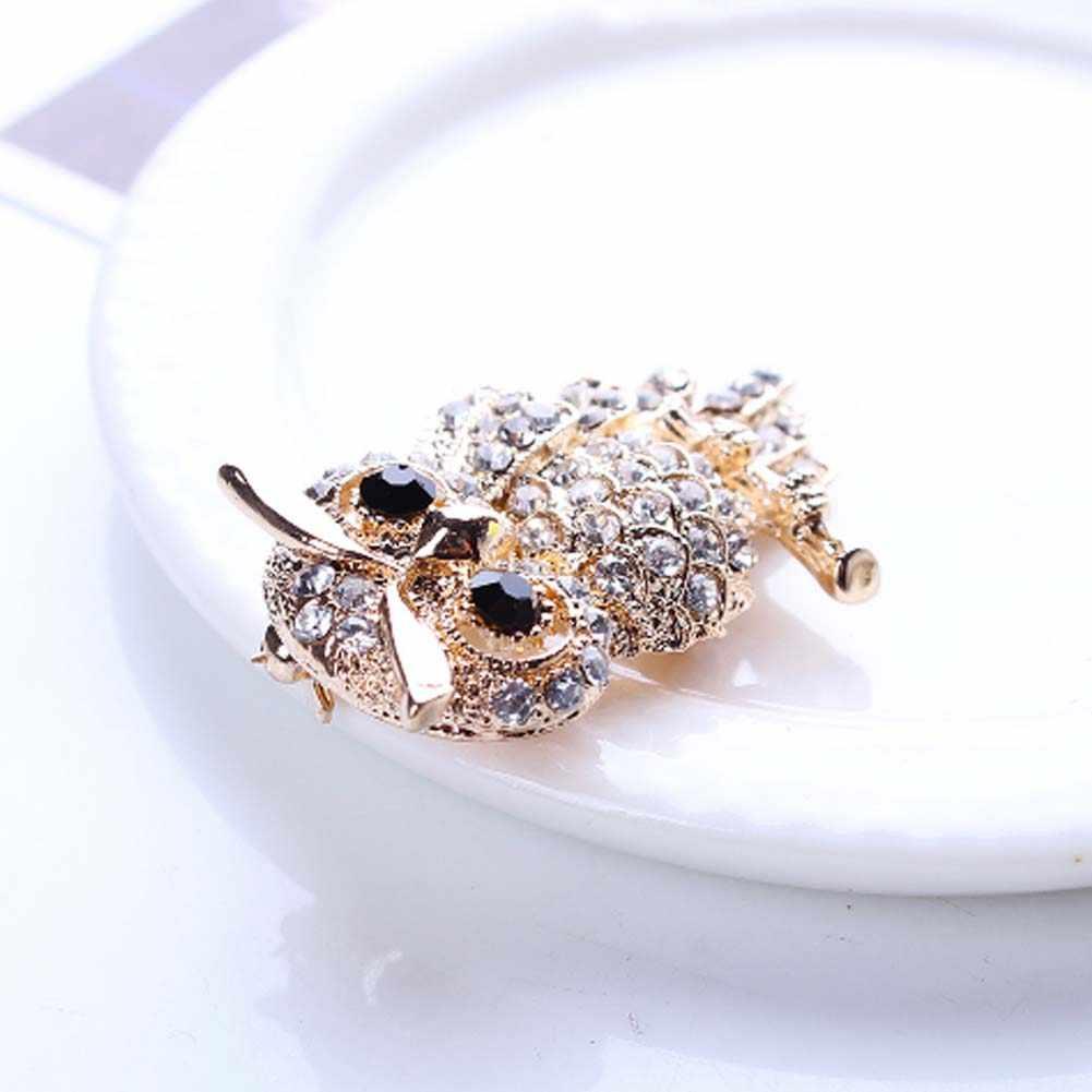 คริสตัลนกฮูก Vintage เข็มกลัด Antiques ช่อดอกไม้นกฮูก Pin Up Designer Broach ผ้าพันคอคลิป Jewellerys สำหรับสตรี