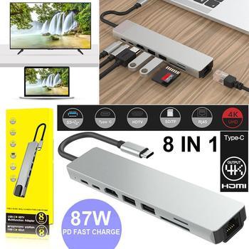 8 in 1 USB 3.0 High Speed Ports Type-C Hub Usb-C to 4K 60HZ HD Laptop Rj45 Gigabit Ethernet Network PD Hub