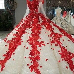 Image 3 - LS09849 đỏ 3D Hoa Dạ Hội Dài Cổ Chữ V voan nữ tay ôm vai sáng bóng dạ hội với Đoàn tàu 100% đẹp như hình ảnh