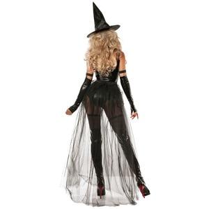 Image 2 - VASHEJIANG пикантные кожаные костюм ведьмы для взрослых Для женщин Хэллоуин сексуальные кружева Волшебный полет ведьмы Косплэй форма смешной костюм
